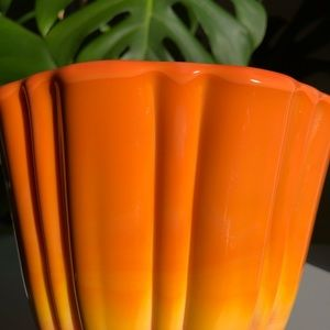 Vintage Accents - LE SMITH Glass Bittersweet Orange Covered Compote